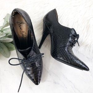 Sam Edelman Xena Black Snakeskin Oxford Heels